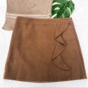 NWT J. CREW Tan Wool  Ruffle-front Mini Skirt